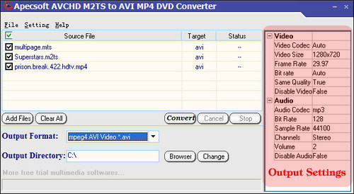 M2TS video converter settings