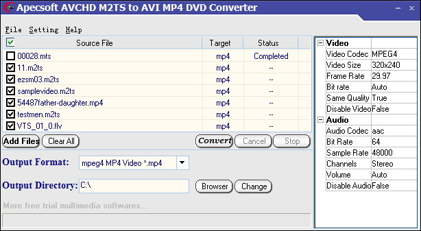 Click to view ApecSoft M2TS to AVI MP4 DVD Converter 1.80 screenshot